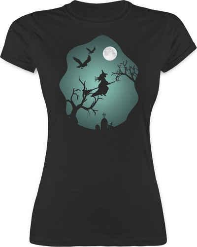 Shirtracer T-Shirt »Hexe Mond Grusel Grün - Halloween Kostüm Outfit - Damen Premium T-Shirt« Helloween