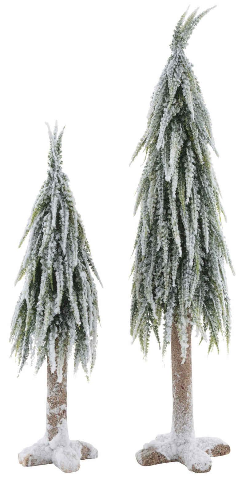 Home affaire Dekobaum (Set, 2 Stück), mit dekorativem Schnee, Höhe ca. 53 cm + 70 cm