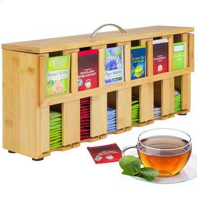 ONVAYA Teebox »Teebox aus Holz, Teekiste mit 6 Fächern, Teebeutelbox für ca. 200 Teebeutel, Tee Aufbewahrungsbox, Teebeutelspender aus Bambus, Teebeutel Organizer«, Bambus