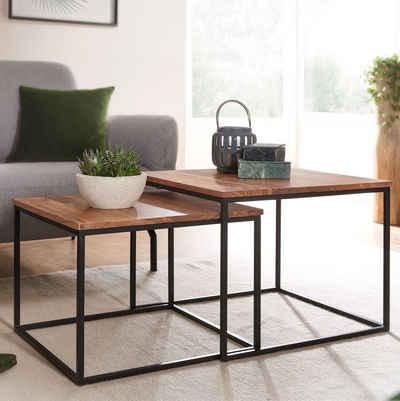 FINEBUY Satztisch »FB67616«, Wohnzimmertisch 2er Set Akazie Massivholz / Metall Beistelltisch Eckig Design Couchtisch mit Metallbeine Sofatisch Tischset 2-teilig
