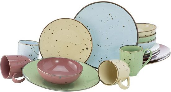 CreaTable Kombiservice »Cottage Pastell« (16-tlg), Porzellan, 4 pastellige Farben im Set