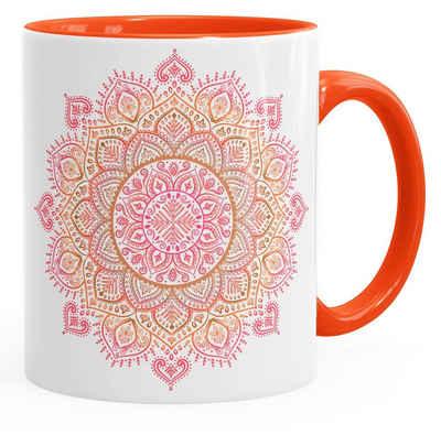 Autiga Tasse »Kaffee-Tasse Mandala Ethno Boho Kaffeetasse Teetasse Keramiktasse mit Innenfarbe Autiga®«, Keramik