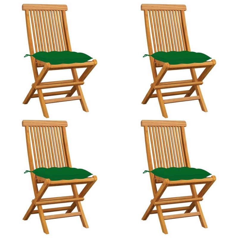 vidaXL Gartenstuhl »vidaXL Gartenstühle mit Grünen Kissen 4 Stk. Massivholz Teak«