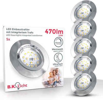 B.K.Licht LED Einbauleuchte, LED Einbaustrahler dimmbar 3-stufig Wandschalter 5x 5,5W 470lm 3.000K schwenkbar ultra-Flach