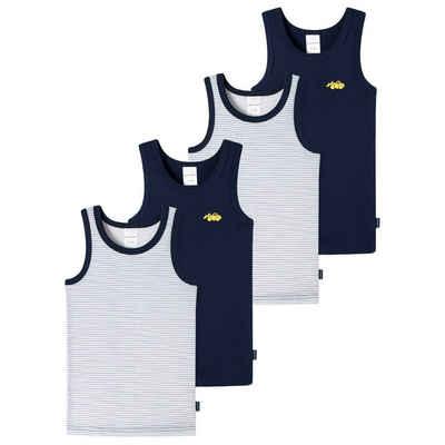 Schiesser Unterhemd »4er Pack Kids Boys Feinripp Organic Cotton« (4 Stück), Unterhemd - Mit komfortablem Rundhalsausschnit, Herrlich bequeme Feinripp-Qualität, 100% Organic Cotton