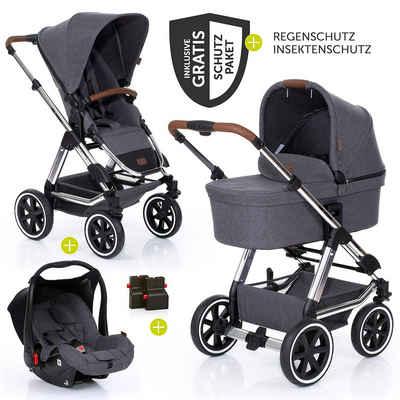 ABC Design Kombi-Kinderwagen »Condor 4 Air - Diamond Edition - Asphalt«, (9-tlg), 3in1 Kinderwagen-Set - inkl. Babywanne, Babyschale & Zubehörpaket