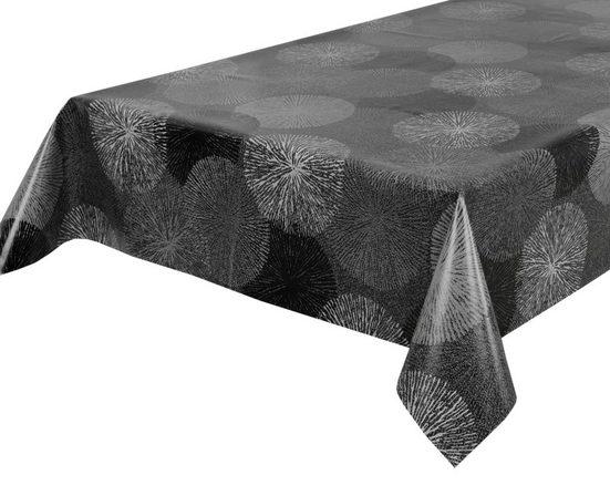 Beautex Tischdecke »Wachstuchtischdecke, Feuerwerk grau, abwischbar Wachstuch Garten Tischdecke ECKIG RUND OVAL, Größe wählbar« (1-tlg)