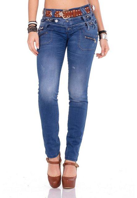 Hosen - Cipo Baxx Bequeme Jeans mit originellem Dreifachbund › braun  - Onlineshop OTTO