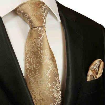 Paul Malone Krawatte »Herren Seidenkrawatte mit Tuch modern barock 100% Seide« (Set, 2-St., Krawatte mit Einstecktuch) Breit (8cm), gold braun 2049