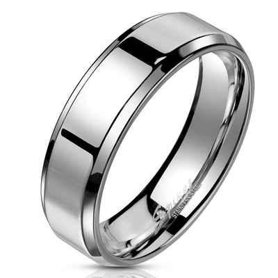BUNGSA Fingerring »Ring schräger Rand Silber aus Edelstahl Unisex« (inkl. Schmuckbeutel aus Organza), Damen Herren Verlobung Ehering Valentinstag