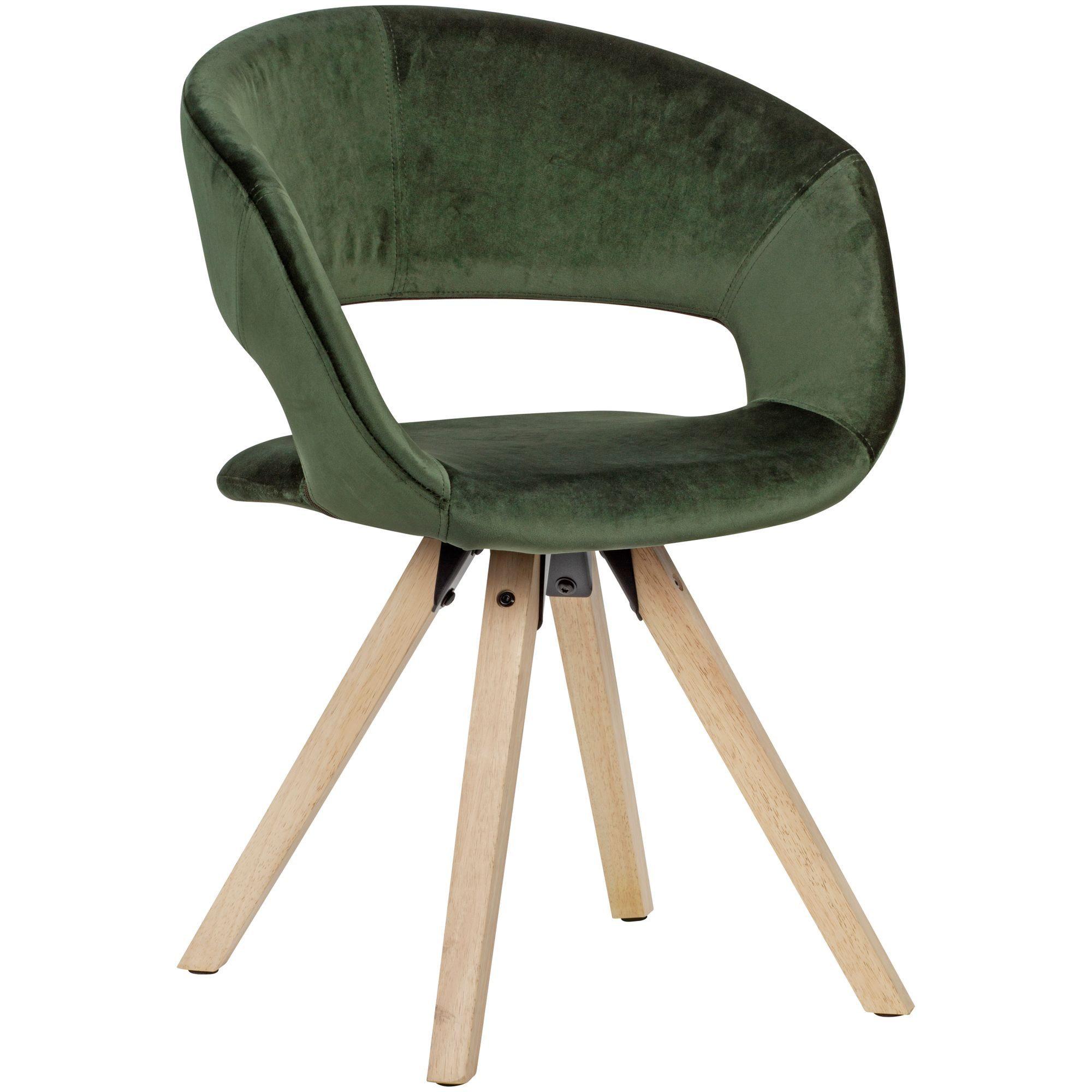 Wohnling 4 Fußstuhl »WL6.019« Esszimmerstuhl Grün Samt Modern Küchenstuhl mit Lehne Stuhl mit Holzfüßen Polsterstuhl Maximalbelastbarkeit 110 kg