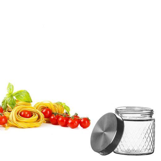 BigDean Vorratsdose »Vorratsglas 0,85 Liter Glas mit Edelstahl−Deckel − mit Schraubverschluss«, Glas. Edelstahl, (1-tlg)