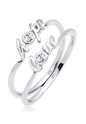 Elli Ring-Set »Hope Love Swarovski® Kristalle 925er Silber«, Love-Schriftzug