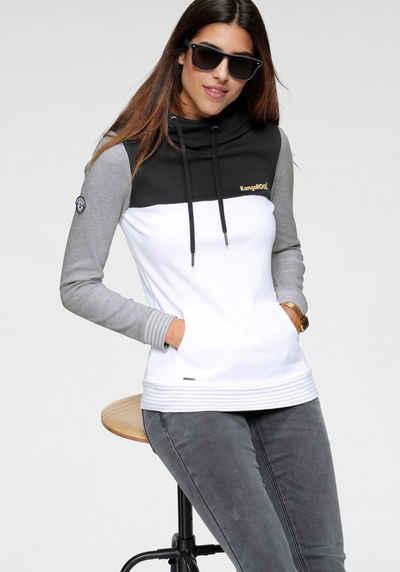 KangaROOS Kapuzensweatshirt mit modischer Kombination aus Color-Blocking und Streifen