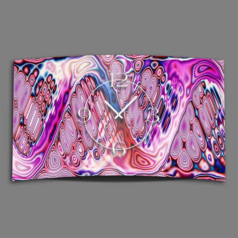 dixtime Wanduhr »Psychodelic pink Designer Wanduhr modernes Wanduhr« (Einzigartige 3D-Optik aus 4mm Alu-Dibond)