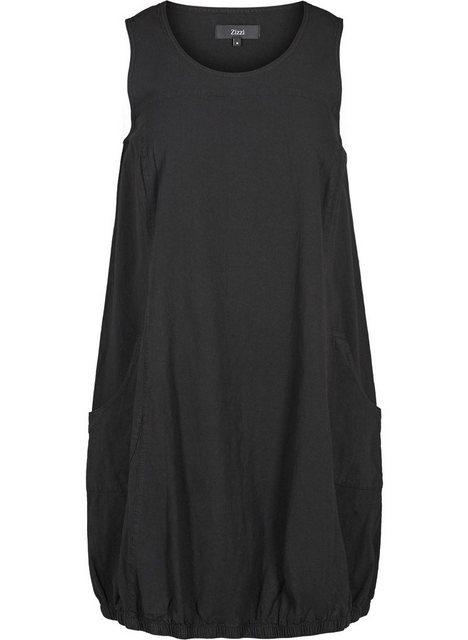 Zizzi Ballonkleid Große Größen Damen Kleid aus Baumwolle mit Rundhals | Bekleidung > Kleider > Ballonkleider | Zizzi