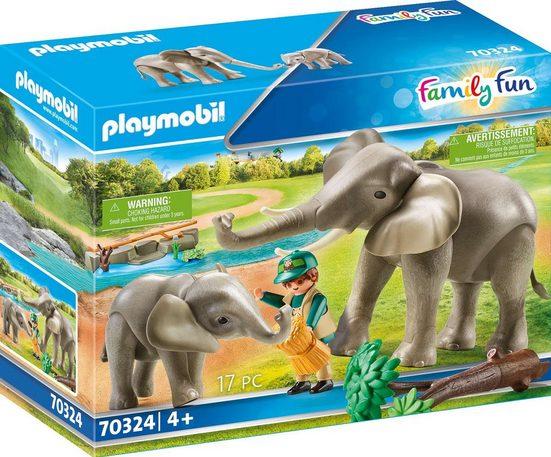 Playmobil® Konstruktions-Spielset »Elefanten im Freigehege (70324), Family Fun«, ; Made in Germany