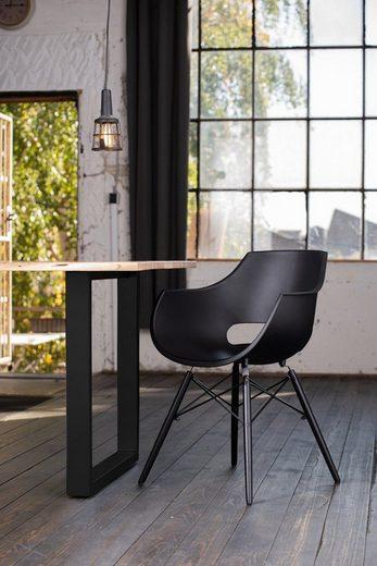 KAWOLA Essgruppe »Stuhl ZAJA Kunststoff schwarz«, 9-teilig mit Tisch Baumkante Nussbaum u. 8x Stuhl ZAJA Kunststoff schwarz