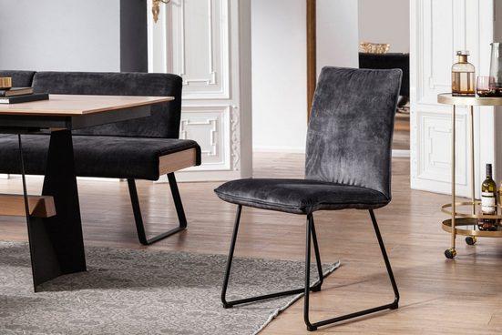 K+W Komfort & Wohnen Kufenstuhl »Deseo II«, Stuhl mit Rundrohrkufe in Metall schwarz Struktur