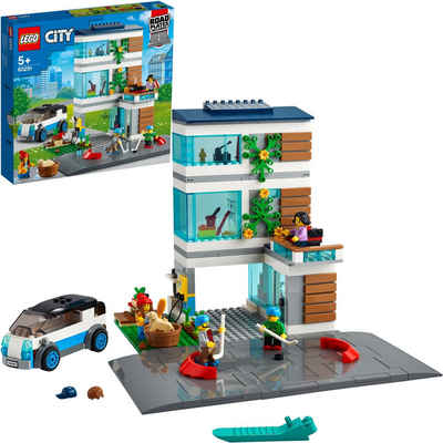 LEGO® Konstruktionsspielsteine »Modernes Familienhaus (60291), LEGO® City Community«, (388 St), Made in Europe