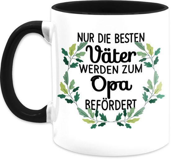 Shirtracer Tasse »Nur die besten Väter werden zum Opa befördert - schwarz - Tasse für Opa - Tasse zweifarbig«, Keramik