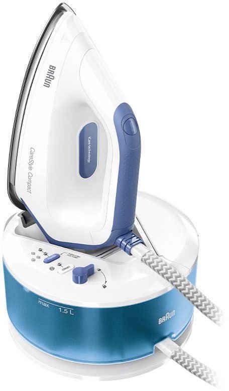 Braun Dampfbügelstation CareStyle Compact IS 2143, 1500 ml Wassertank, blau, max. Dampfmenge 420g/min, Rückwärtsbügeln über Knöpfe