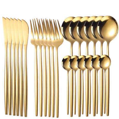 Home safety Besteck-Set »24tlg. Besteck Set aus Edelstahl, Gold Tafelbesteck Set für 6 Personen inkl. Messer, Gabel, Löffel, Teelöffel«