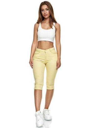 Egomaxx Jeansshorts »3206« Damen Capri Jeans Stretch Bermuda Hose