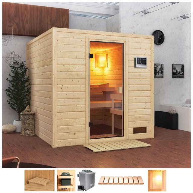 Saunen und Zubehör - Karibu Sauna »Jacky«, BxTxH 195 x 195 x 187 cm, 38 mm, 4,5 kW Bio Ofen mit ext. Steuerung  - Onlineshop OTTO