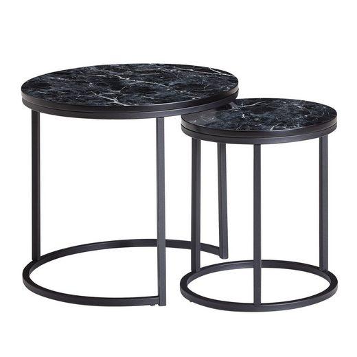 Wohnling Satztisch »WL6.251«, 2er Set Schwarz Marmor Optik Rund Couchtisch 2-teilig Tischgestell Metall Kleine Wohnzimmertische Moderne Satztische