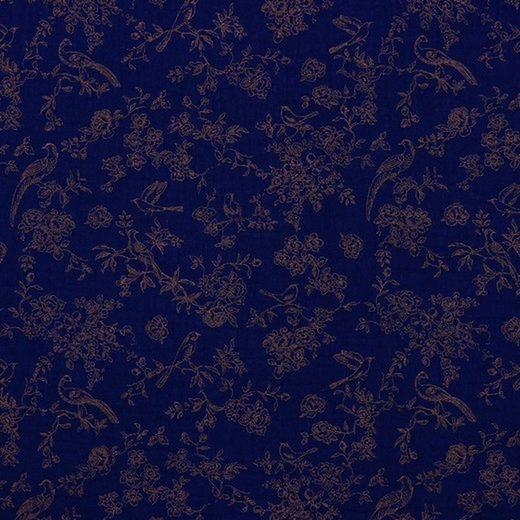 larissastoffe Stoff »Double Gauze, Musselin Blumenranken navy blau«, Stoffe zum Nähen, Meterware, 50 cm x volle Breite