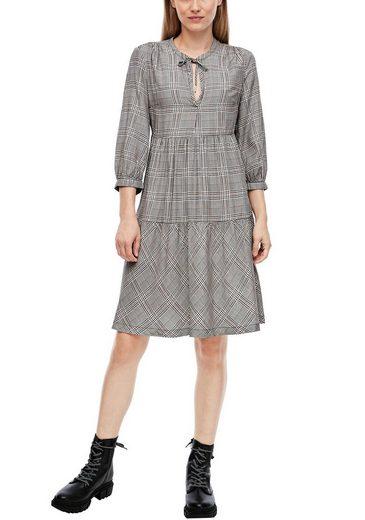 Q/S designed by Blusenkleid mit Stufenrock im Karo-Muster