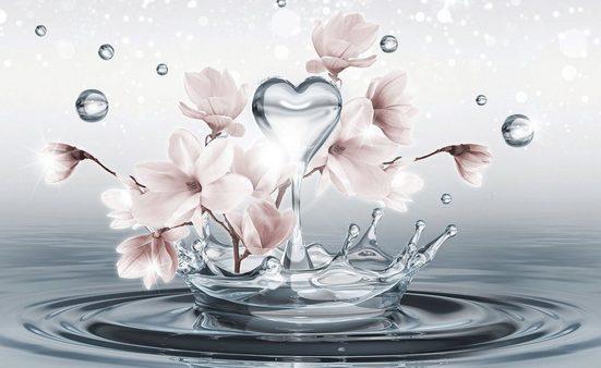 CONSALNET Fototapete »Magnolie 3D im Wasser«, Papier, in verschiedenen Größen