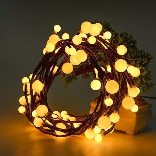 Quntis LED-Lichterkette, Globe Lichterkette, 2,5M 72 Leds Kugel Lichterkette 8 Modi mit EU Stecker Memory-Funktion IP44 Beleuchtung für Weihnachten Hochzeit Haus Schlafzimmer Party Geburtstag Innen und Außen