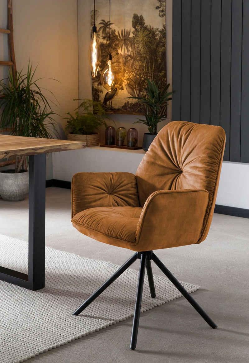 SalesFever Schalenstuhl (Set, 1 Stück), Esszimmerstuhl 360°Drehfunktion, Drehstuhl, Armlehnstuhl