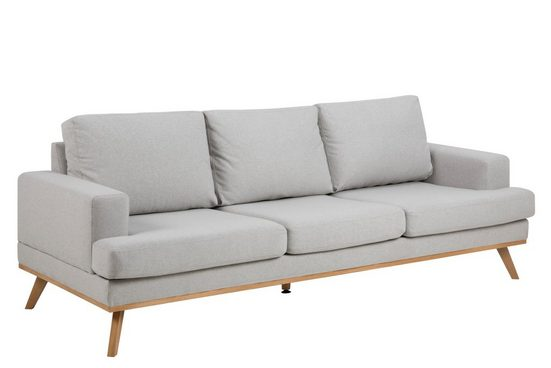 ebuy24 Sofa »Nord 3 Personen Sofa in hellgrauen Stoff und Esche«