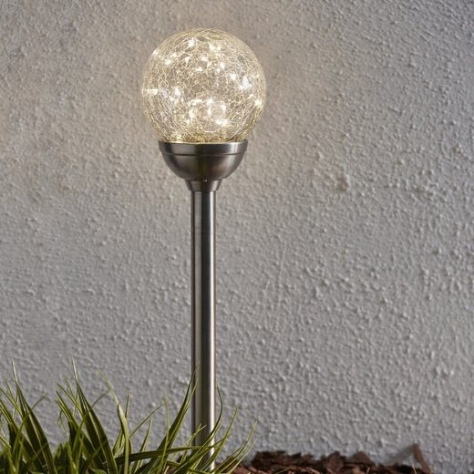 STAR TRADING LED Pollerleuchte »LED Solarkugel mit Gartenspieß Glory H: 45cm 30 warmweise LED Dämmerungssensor«