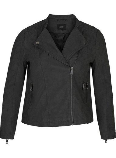 Zizzi Lederimitatjacke Große Größen Damen Jacke aus Lederimitat mit Reissverschluss