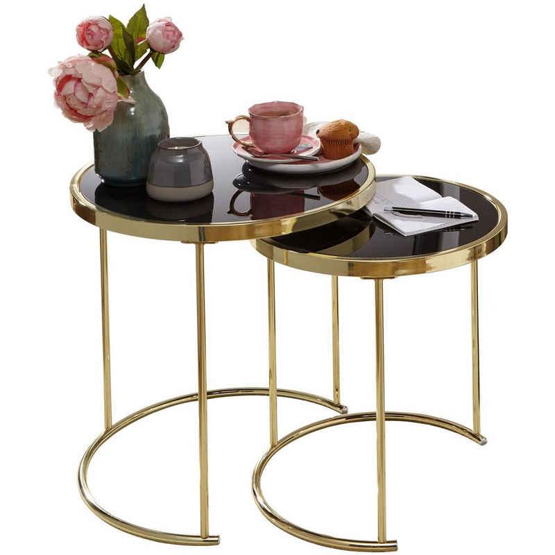Wohnling Satztisch »WL5.769«, Design COMO Schwarz/Gold Beistelltisch Metall/Glas Couchtisch Set aus 2 Tischen Kleiner Wohnzimmertisch Metalltisch mit Glasplatte Ablagetisch modern