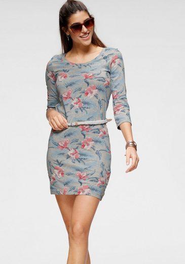 KangaROOS Jerseykleid (mit abnehmbarem Gürtel) mit tollem Gürtel und Blumen-Print
