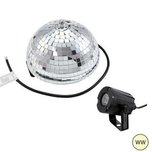 SATISFIRE Discolicht »Set Halbspiegelkugel 20cm + 1 x LED Pinspot 3W Warmweiss«