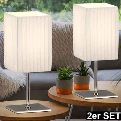 etc-shop Tischleuchte, 2er Set Tischleuchten schaltbar Nachttischleuchten Textilschirm weiß, 1x E14 max. 40 Watt, LxBxH 10x10x26cm, Wohnzimmer Schlafzimmer
