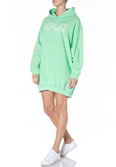 Replay Sweater Oversized-Dress mit XXL- Kapuze & Logo
