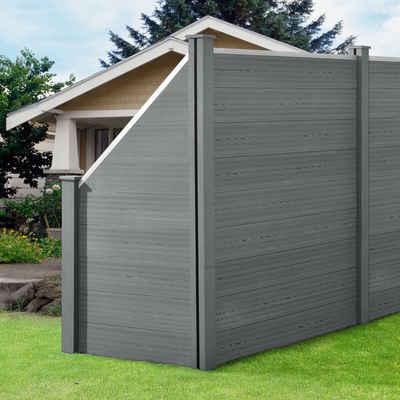 neu.holz Gartenzaun, (mit Pfosten), »Utrera« Lamellenzaun mit Schräge WPC Sichtschutz 183x277cm Grau