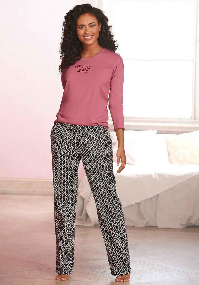 Vivance Dreams Pyjama mit Schriftprint und gemusterter Hose