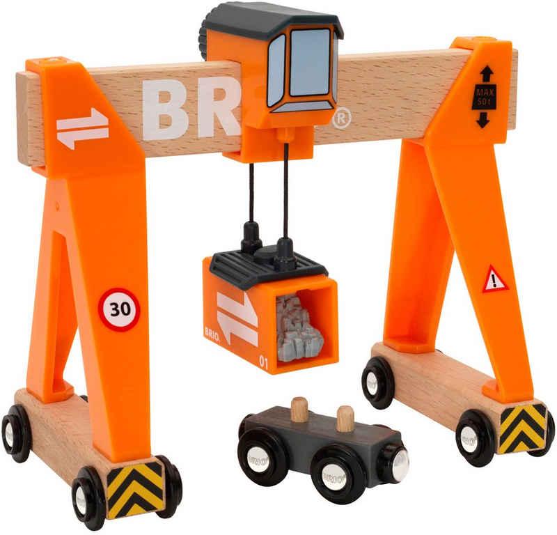 BRIO® Spielzeugeisenbahn-Erweiterung »BRIO® WORLD Container-Verladekran«, FSC®-Holz aus gewissenhaft bewirtschafteten Wäldern
