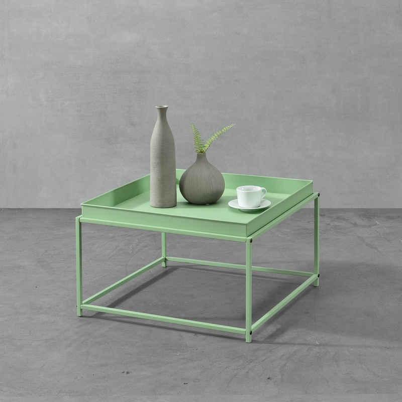 en.casa Beistelltisch, »Teltow« Tabletttisch Wohnzimmertisch Metall mit abnehmbaren Tablett in verschiedenen Farben