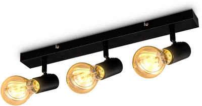 B.K.Licht Deckenspots, schwenkbare vintage Deckenleuchte, 3-flammige retro Deckenlampe, max.60W E27, Landhausstil, Deckenstrahler, ohne Leuchtmittel