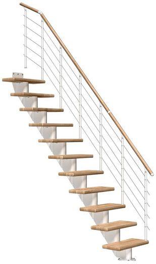 DOLLE Mittelholmtreppe »Frankfurt Eiche 65«, bis 279 cm, Edelstahlgeländer, versch. Ausführungen