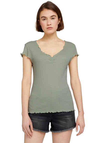 TOM TAILOR Denim T-Shirt mit Wellensaumkante
